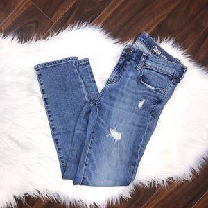 GAP Girlfriend Distressed Medium Wash Blue Jeans